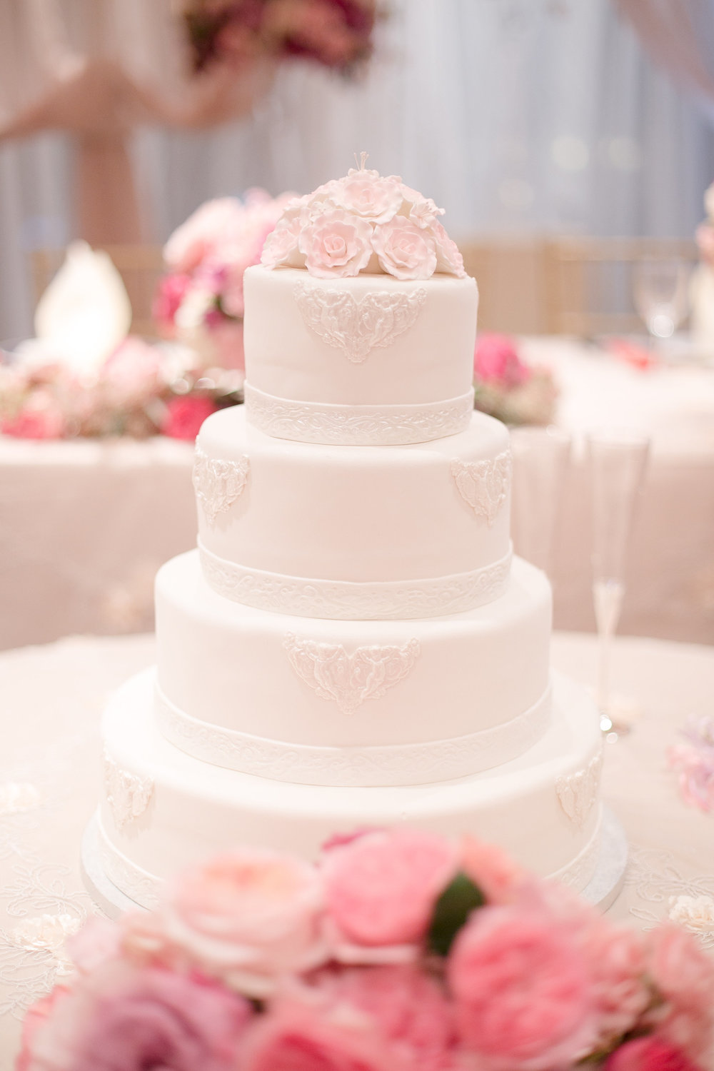 Simple and elegant pink wedding cake