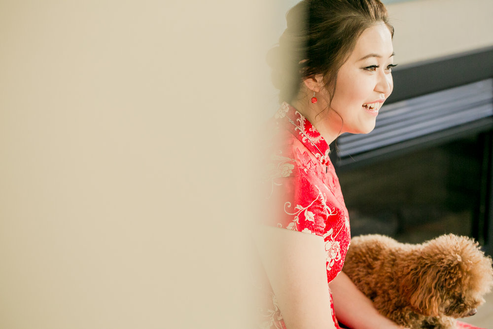 Bride waiting with puppy