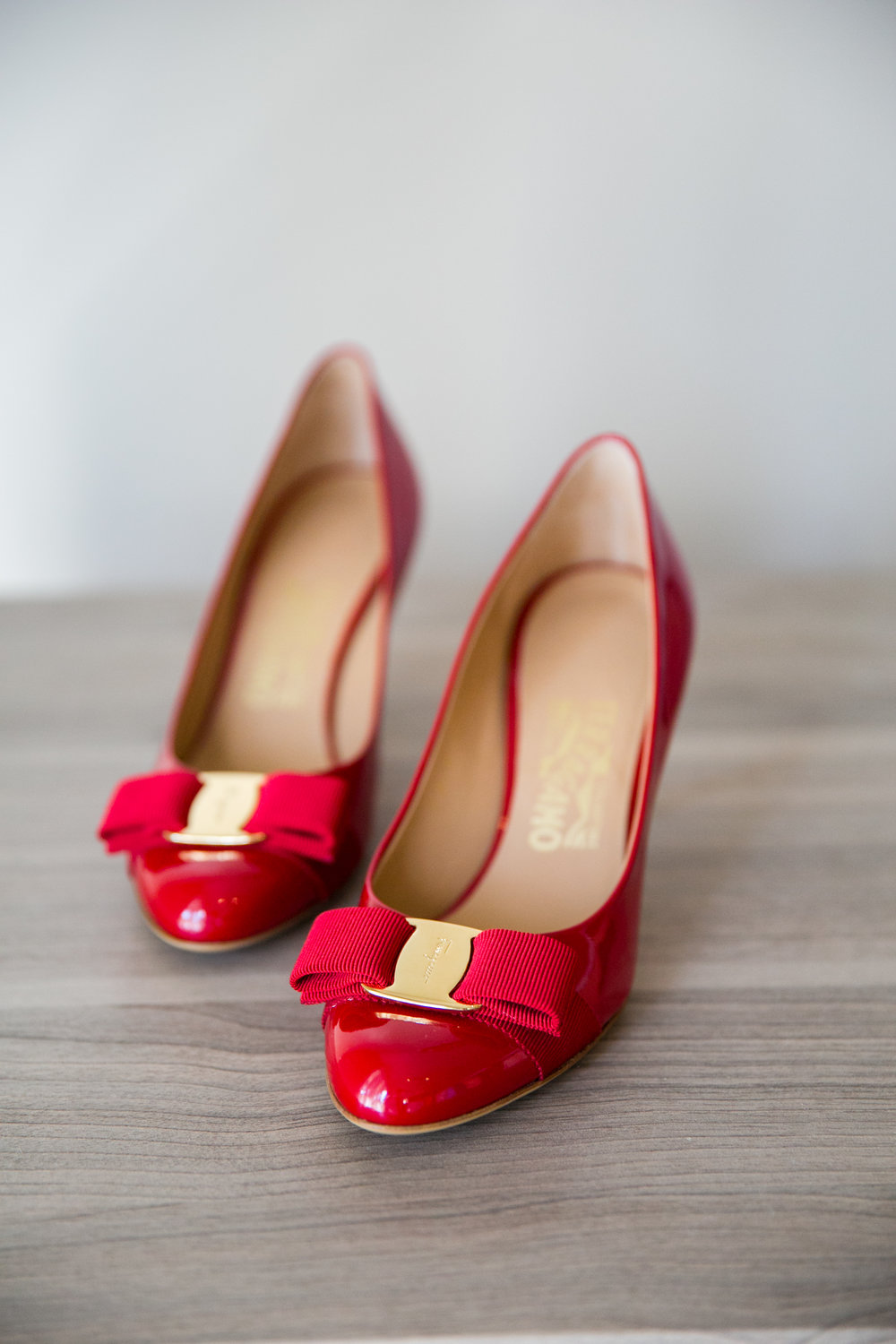 Red Ferragamo pumps