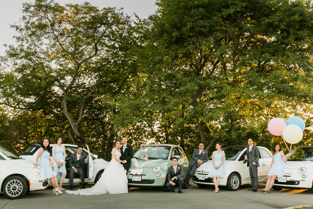 Wedding party posing with fleet of Fiats
