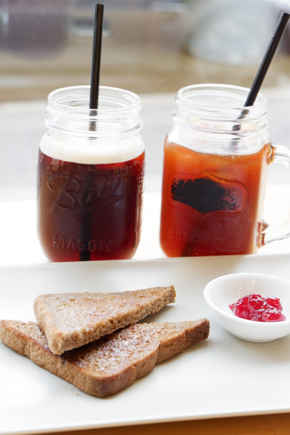 Cold-coffee-and-jam-with-toast