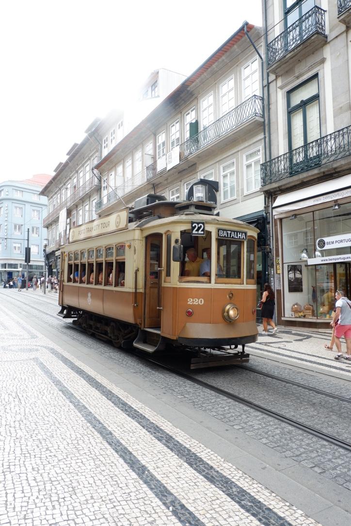 Vintage-tram-on-Porto-Street
