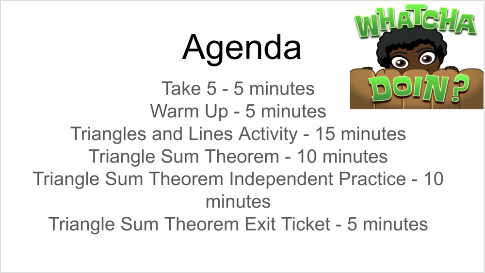 The daily agenda should have times listed in minutes