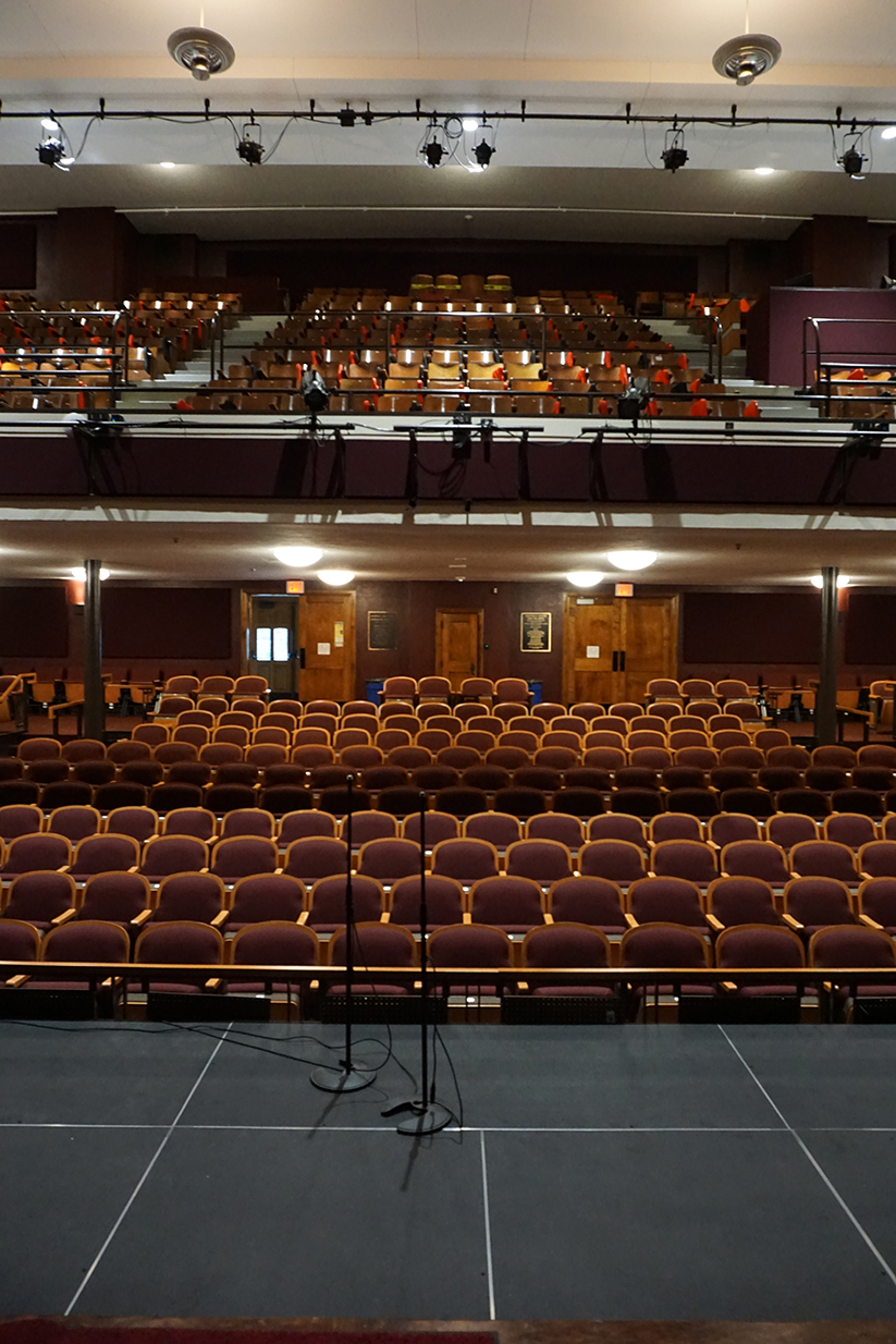 Potter Auditorium. View from main stage of front of house. Thrust stage (orchestra pit cover) at half-height.