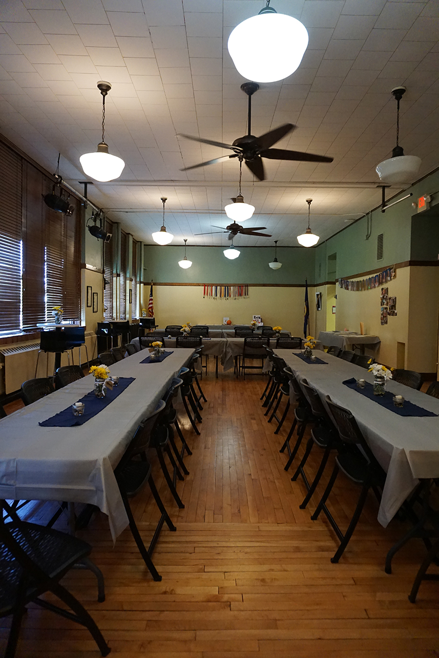 American Legion Room on 1st floor of 1916 building setup for graduation party. ADA accessible.