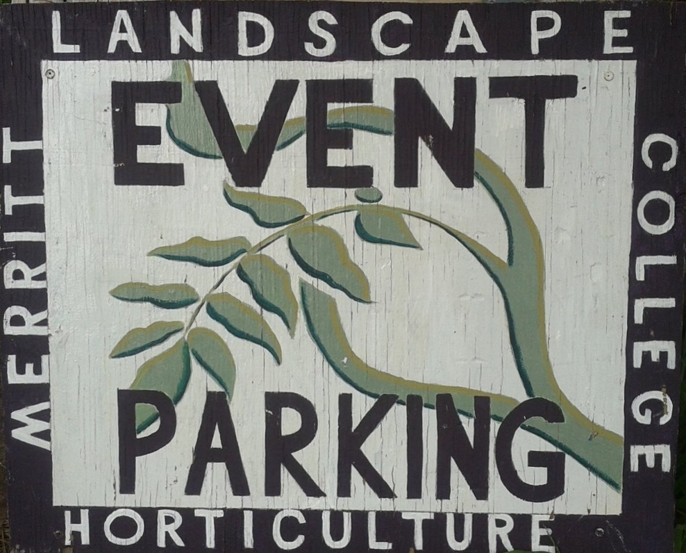 The Landscape Horticulture Department at Merritt College in Oakland needed a highly visible event parking sign. A portion of the department logo was used to maintain identity and high contrast colors were applied to stand out. The sign was hand painted using acrylics and then sealed with an exterior sealer. Letter stencils were intentionally not used in an attempt to promote a hand crafted look.