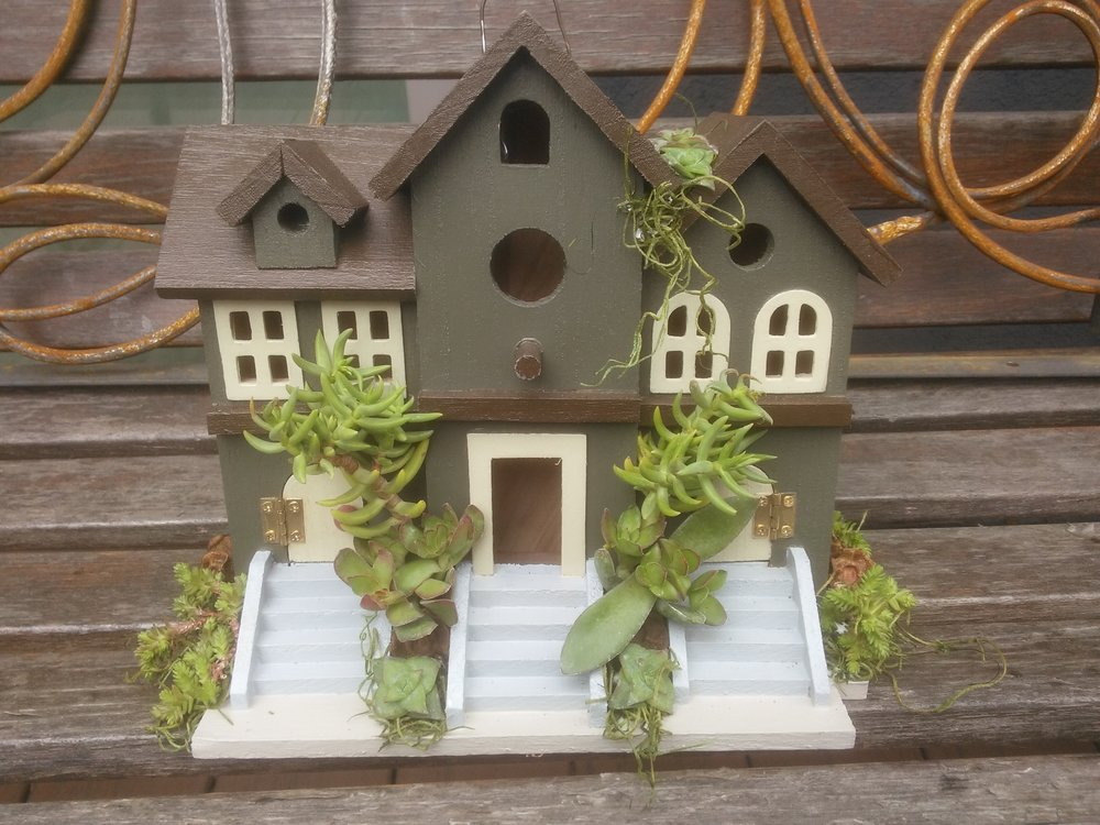 Dark Green Birdhouse with Succulents.jpg