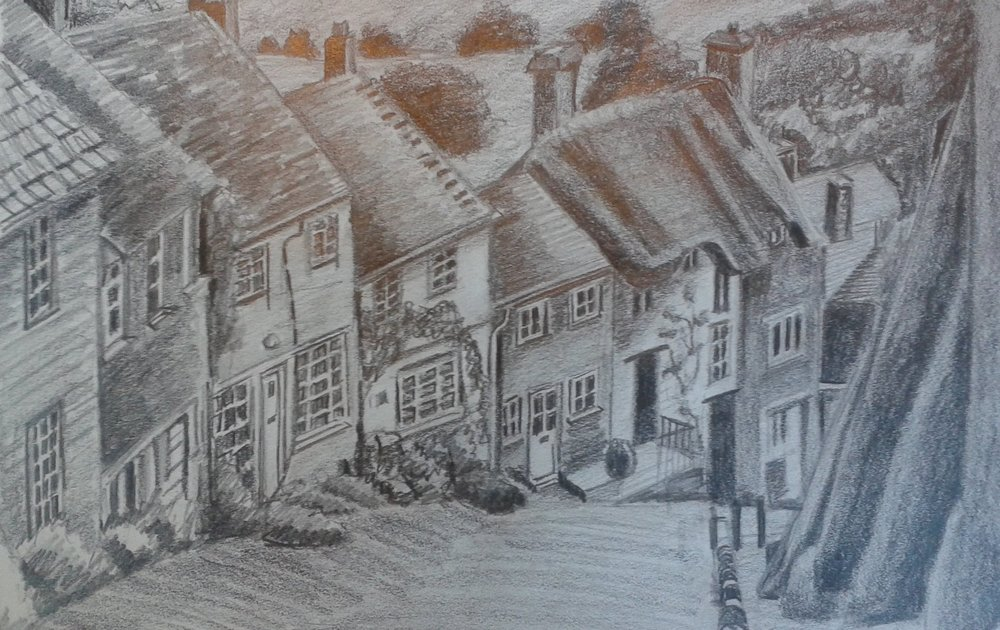 Houses on a Steep Slope in Graphite