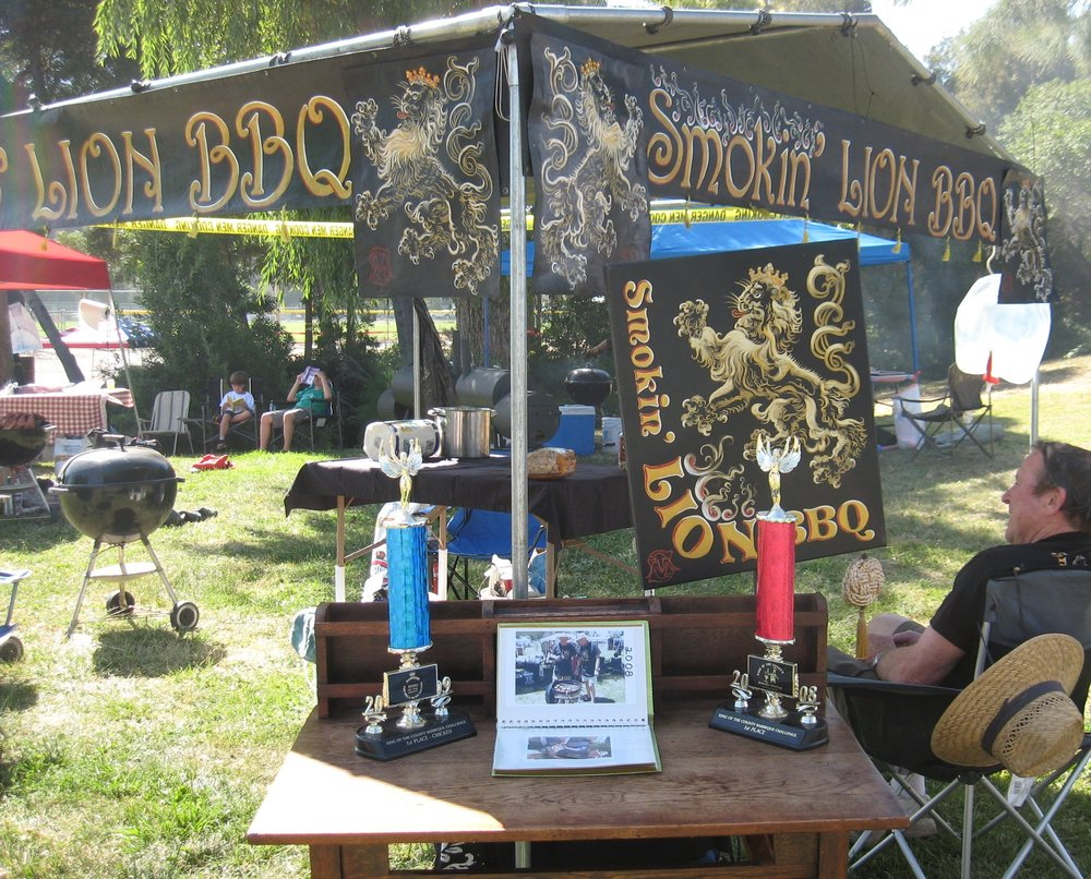 Smokin' LION BBQ in action at the Martinez King of the County BBQ Challenge. Placed FIRST for Best Booth Design in 2011 competition.
