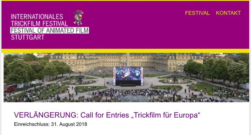 "DEADLINE EXTENDED: Call for Entries ""Trickfilm für Europa""  In response to industry request, the deadline for competition submissions has been extended to August 31, 2018. Click  here  for project description. The competition is open to short animated films and the prize is endowed with 60,000 €!    VERLÄNGERUNG: Call for Entries ""Trickfilm für Europa""  Die Einreichfrist für den Projektwettbewerb wurde auf Wunsch der Branche bis zum 31. August 2018 verlängert!  hier  könnt ihr nochmal die genaue Projektbeschreibung nachlesen. Gefragt ist ein kurzer Animationsfilm und der Preis ist mit 60.000 € dotiert!"