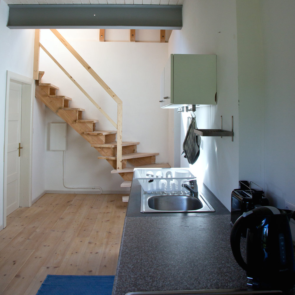 Küche Richtung Treppe zum Turmschlafzimmer