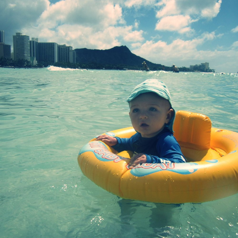A tiny tourist in Waikiki