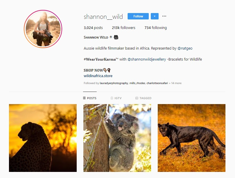 Click for  Shannon Wild's Instagram
