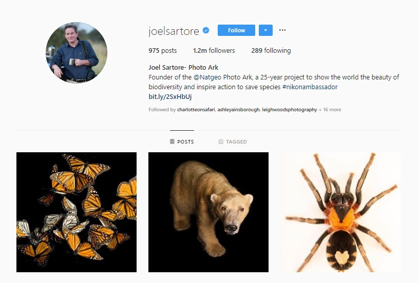 Click for  Joel Sartore's Instagram
