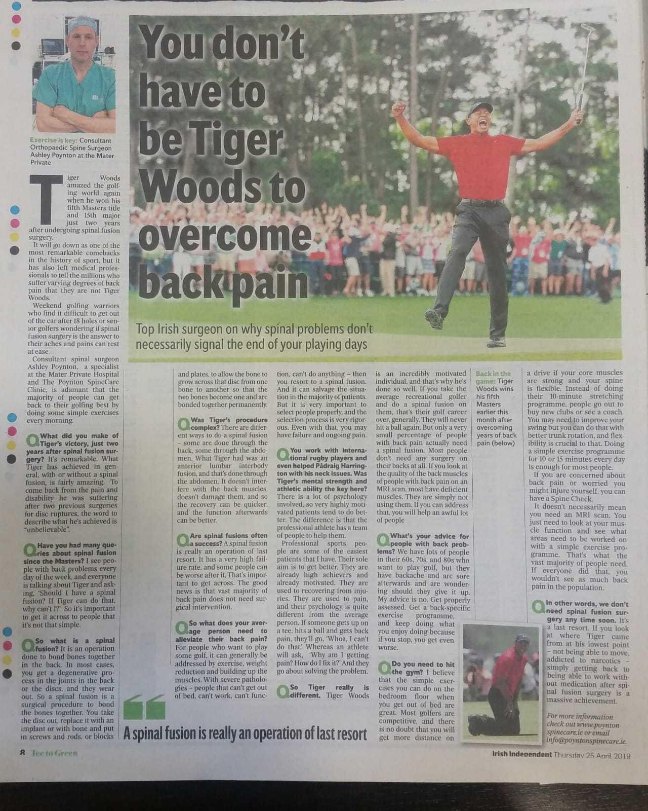 Irish Independent Golf Supplement Interview re Spinal Fusion