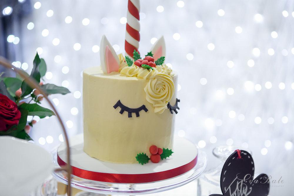 Rainbows Unicorn Christmas Cake