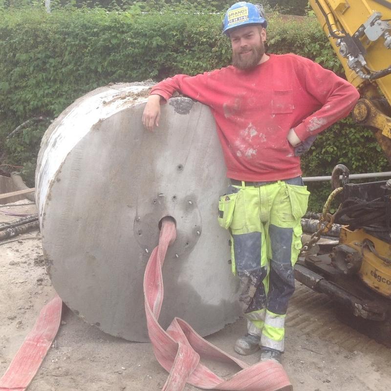 Cirkelskæring af Ø 1400 mm hul i 105 cm bygværk