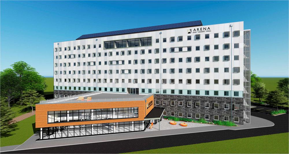 Ritning för Gränby Sport Arena hotell i Uppsala