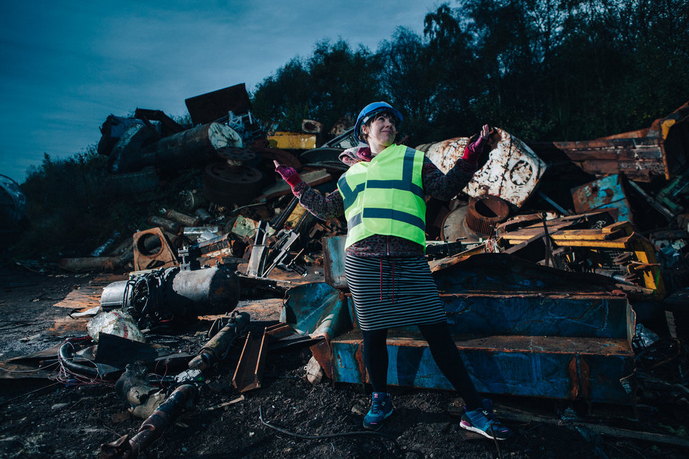Behind the scenes test shot with Hannah Woods, Producer for the show Skip Rap rocking the high-fashion, high-viz and hard hat. Safety first!