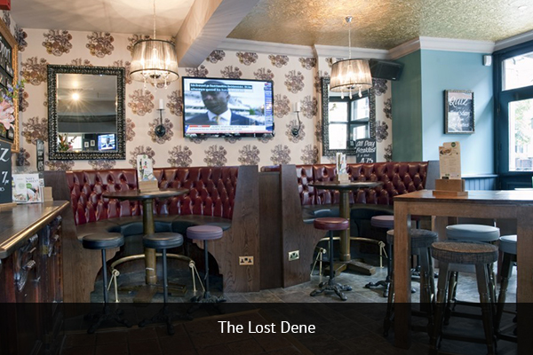THE LOST DENE  |   +44 161 839 9035  Located on city centre Manchester, The Lost Dene is a convenient and affordable place to get your match day fix. With comfortable booth setups you and your pals can enjoy the game and relax.   Address:  144 Deansgate, Manchester M3 3EE