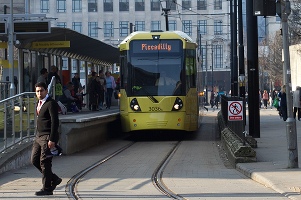 TRAM (Metrolink)  Metrolink operates six lines in the Manchester area. Trains run about every 12 minutes and the day pass is only £5. There is also an airport line through this service, allowing for convenient arrival and departure from the city.