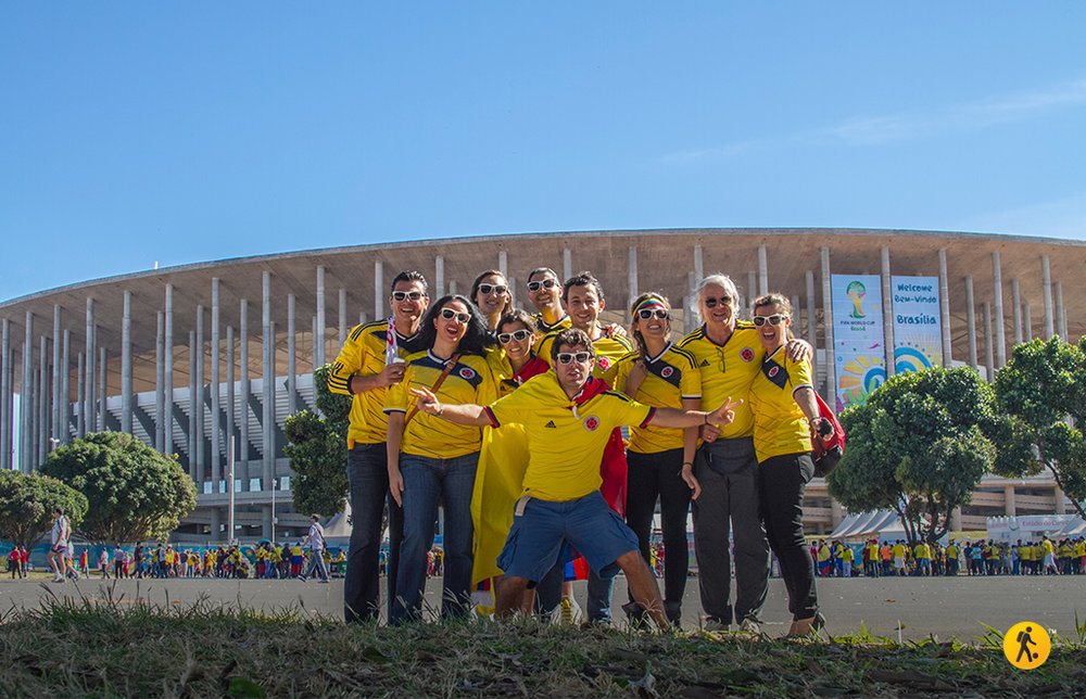 With my family and the Pradilla brothers, getting ready for Colombia vs Ivory Coast match in Brasilia.
