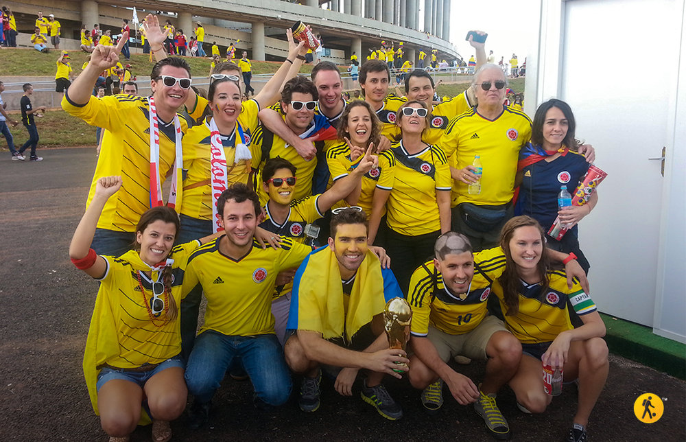 With a group of Backpacking Football travelers, celebrating Colombia's victory.