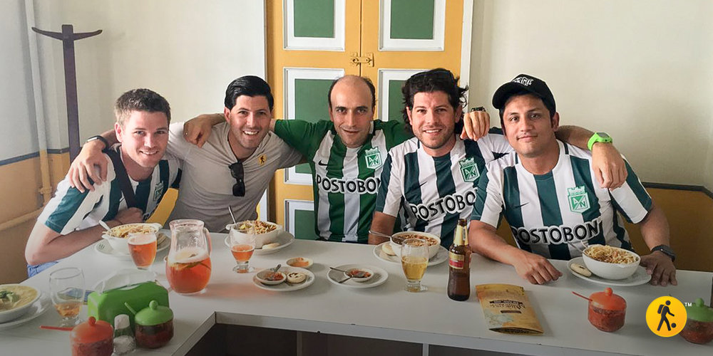 "With some friends having a ""Paisa Lunch"" before the match."