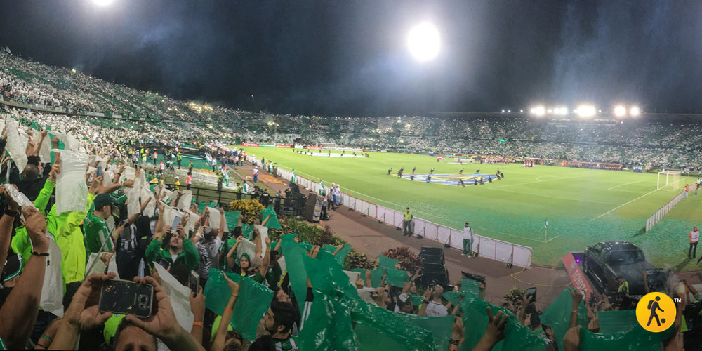 The mosaic started forming while the teams jumped onto the pitch.
