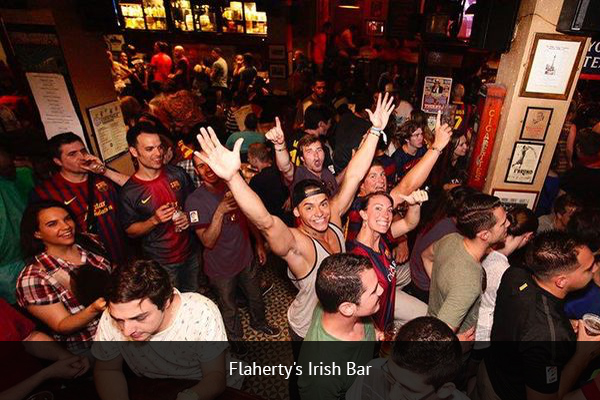 FLAHERTY'S IRISH PUB|    +34 934 12 6263    Paddy Flaherty's is considered one of the best places to watch football in Barcelona. Located in the Ramblas area, Paddy Flaherty's has multiple HD screens, as well as two king-size projectors for fans to watch football games.   Address:  Placa Joaquim Xirau