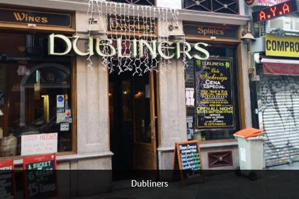 DUBLINERS   +  34 915 22 75 09   Dubliners is an Irish bar that offers the football fan the small, local atmosphere and the thrive of football in one place.   Address:  Calle de Espoz y Mina, 7, 28012