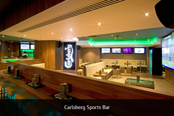 CARLSBERG SPORTS BAR  |    +44 20 3627 0425   Located in Leicester Square's Empire Casino, this bar is actually owned by Carlsberg, and it is open 24/7 so supporters can enjoy all the football action around the world.   Address:   5-6 Leicester Square, London WC2H 7NA