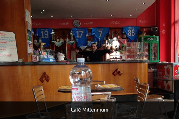 CAFE MILENNIUM  |    +39 338 525 5447   Café Millennium is located in Turin's center, just one block from Piazza Pitagora. This is a great place for having a few brews and watching some good football.   Address:  Corso Siracusa 148