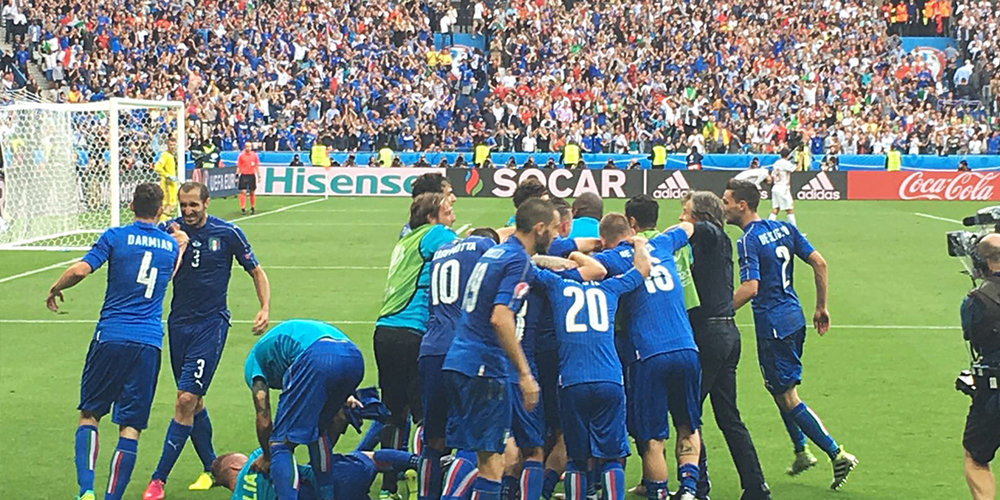 Pretty awesome to see the Italy celebration right in front of us.