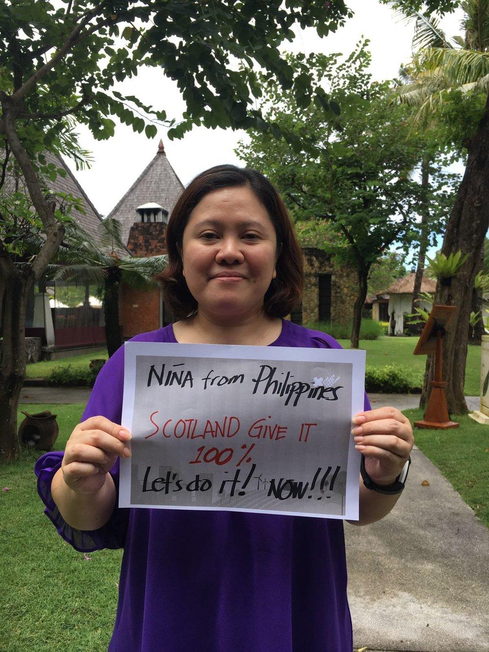 """Let's do it, now!""    Nina Espinola-Abogado, Philippines"