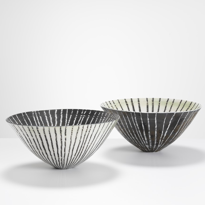 Mirror Bowls Monochrome 2017 Wheel thrown porcelain, dark lines on matte white glaze and a dark exterior with white lines and vis Verda in the sister piece.jpg