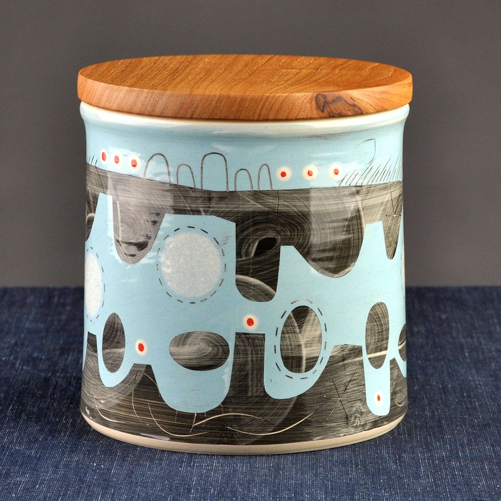 medium blue bread bin