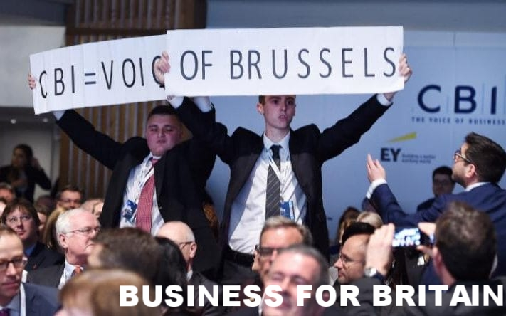 Vote Leave protesters at the CBI, who heckled the then Prime Minister David Cameron. The protesters secured access by setting up a fake business to pull off the stunt, in order to send a message that 'business was divided' over the EU and the CBI was Brussels-funded.