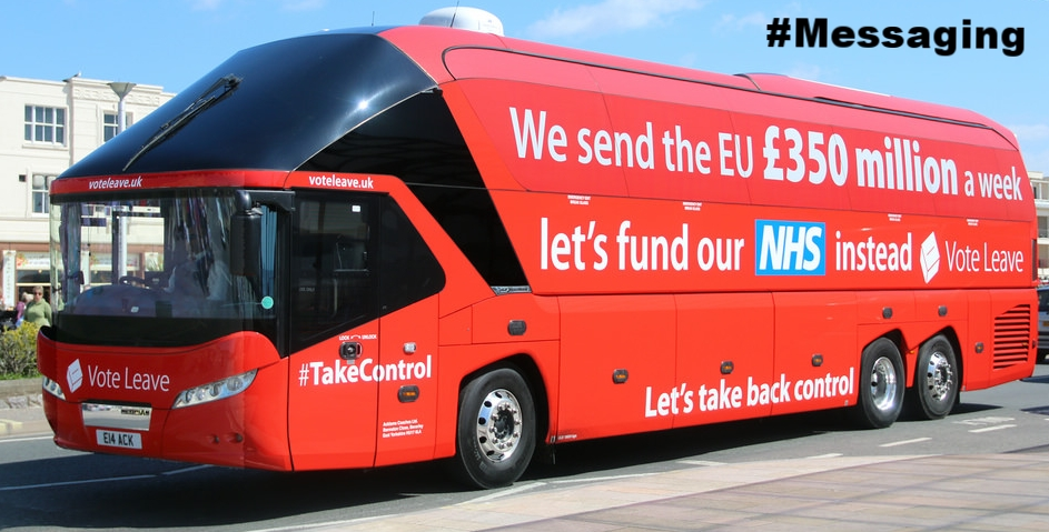 "Vote Leave Battle Bus. Note that the UK does not ""send"" £350m a week to the EU, the true figure once accounting for the UK's rebate/refund (which is deducted before any money is ""sent"") is closer to £245m a week. After also accounting for overseas aid routed via the EU, it is £175m a week. And finally, after money is sent back to the UK for various EU programs, it is around £115m-£123m a week. Whilst much smaller, these figures are still similar in size to  all UK government 'austerity' cuts combined between 2010-2015  under the Coalition Conservative/Lib Dem government (£132m a week on average)"
