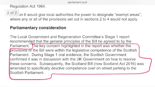 Holyrood's Delegated Powers and Law Reform Committee - confirming the Scottish Government requested powers be devolved to resolve the competence issues (SP Paper 819, 28th Oct 2015)