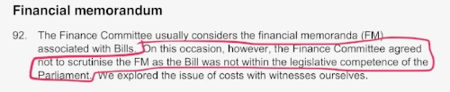 "The Local Government and Regeneration committee admitting ""the bill was not within the legislative competence of the Parliament"" (SP Paper 907, 8th Feb 2016)"