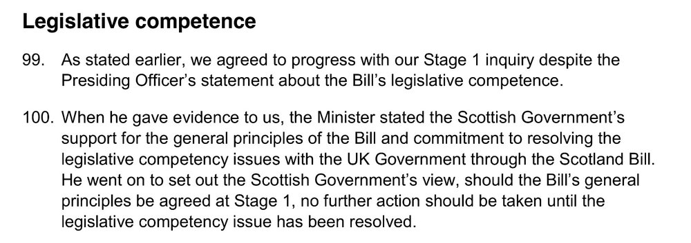 "SNP Minister (Derek Mackay) confirming to the Local Government and Regeneration committee that no further action should be taken on the bill ""until legislative competence"" issues are resolved (SP Paper 907, 8th Feb 2016)"