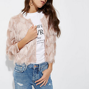 Light pink fringed cropped jacket €80