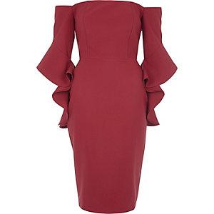 Pink bell sleeve bardot bodycon midi dress €65