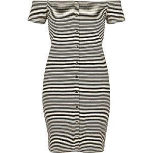 White and black stripe bardot bodycon dress €35