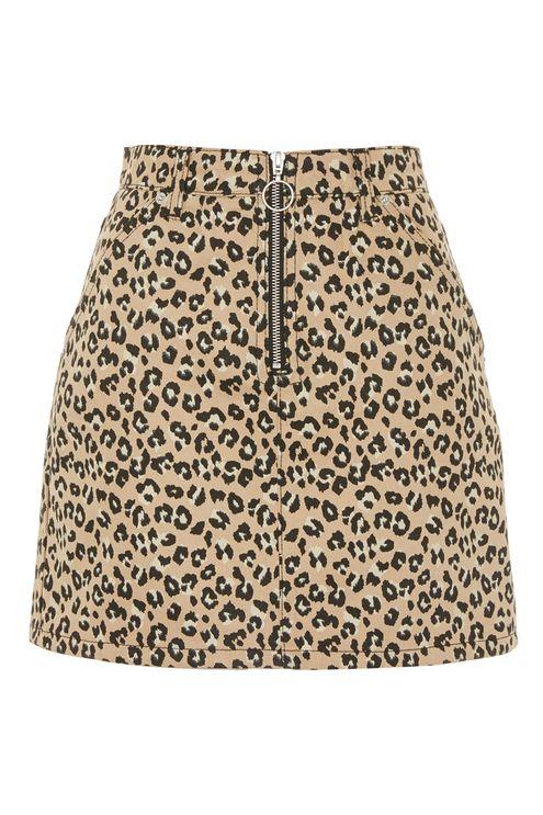 Half zip leopard print denim skirt