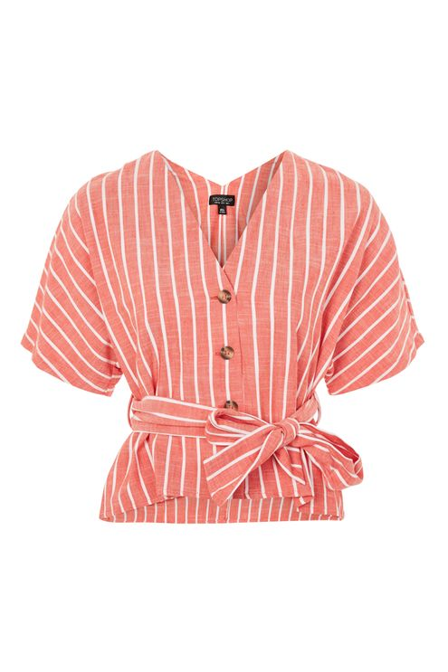 Striped short sleeve kimono top