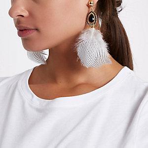 Feather jewel drop earrings