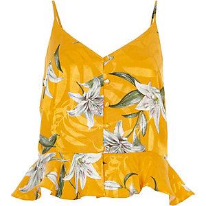 Yellow floral print peplum cami top