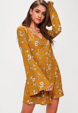 yellow-floral-button-flare-sleeve-skater-dress.jpg